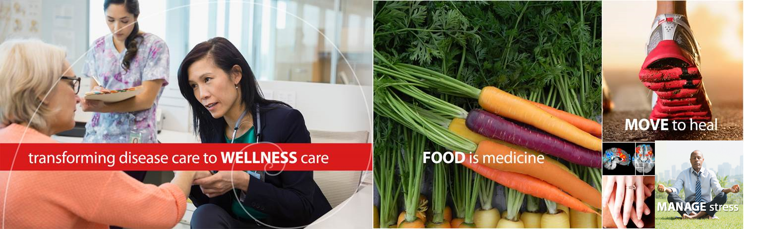banner of wellness images, doctor with patient, healthy food
